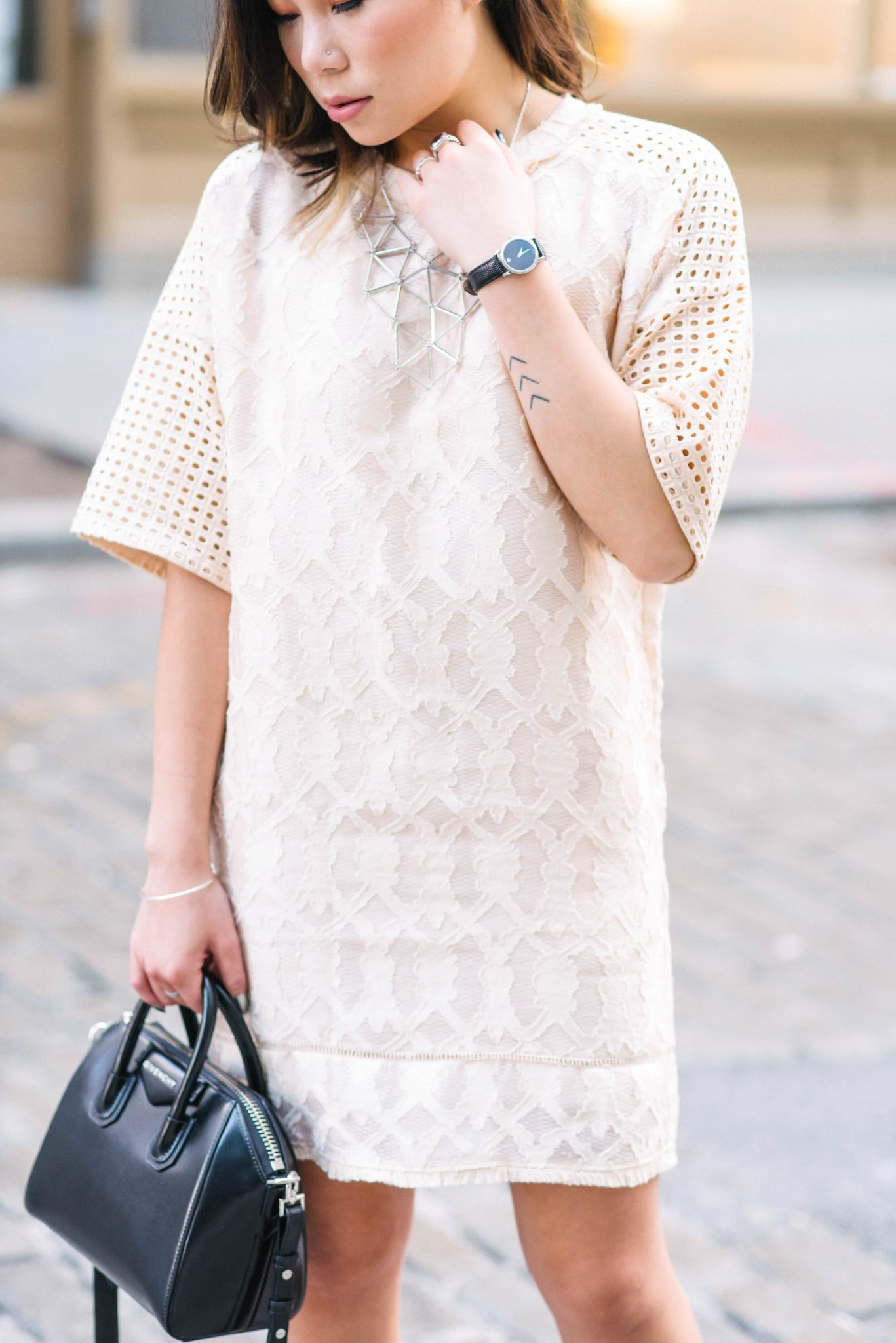 Kasey Ma, influencer and blogger of The StyleWright, wearing Tatsuaki by Dan Liu during New York Fashion Week 2017 in Tribeca, Manhattan, New York City